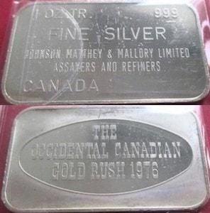 1oz JM Canada 1975 Occidental Canadian Gold Rush