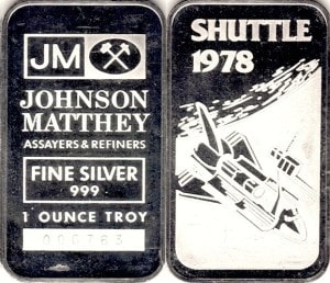 1oz JM SHUTTLE 1978
