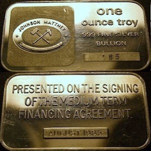 1oz JM london 1985 Financial Agreement Signing