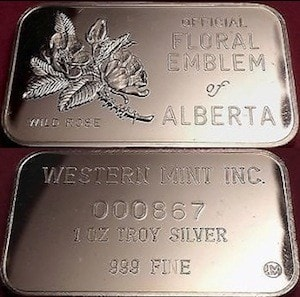 1oz JMM Western Mint Inc Alberta Floral Emblem Wild Rose