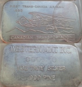 1oz JMM Western Mint Inc Trans Airmail