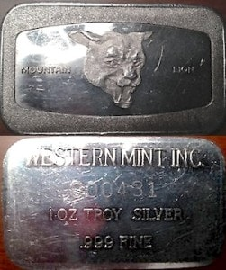 1oz JMM Western Mint Mountain Lion