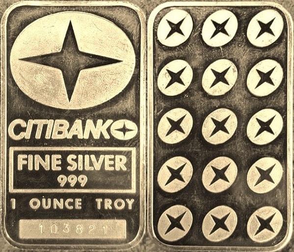 CITY BANK 1oz silver bar