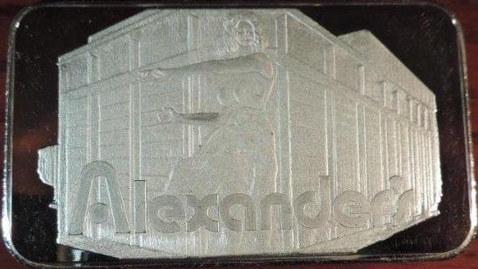 JM ALEXANDER'S $100 GIFT INGOT 5 OZ 0021
