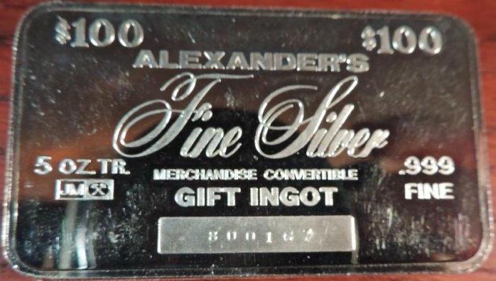 JM ALEXANDER'S $100 GIFT INGOT 5 OZ 0031