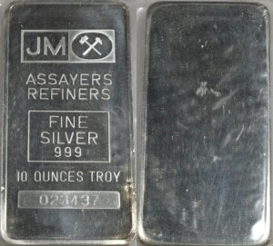 Johnson Matthey Vintage 10 Oz 999 Fine Silver Bar Free