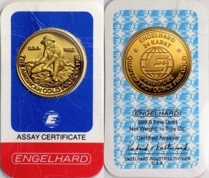 ¼ oz 1982 Gold Prospector Assay Card