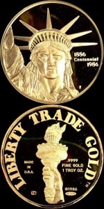 1oz 1986 LIBERTY GOLD ROUND