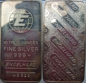 Tall E Globe Engelhard Silver Bar 10 oz Bar
