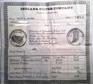 1oz Indiana Round COA