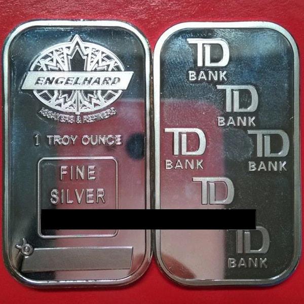 Free-Shipping-5pcs-lot-Non-Magnetic-Clad-Silver-Engelhard-Maple-Leaf-Bars-TD-Bank-Bar-Rare