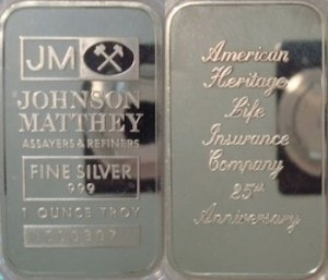 1oz JM American Heritgage Life Insurance 25th Anniversary