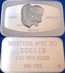 1oz JM Western Mint Inc North American Buffalo