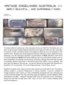 AGWire VINTAGE ENGELHARD AUSTRALIA AG 9-3-16
