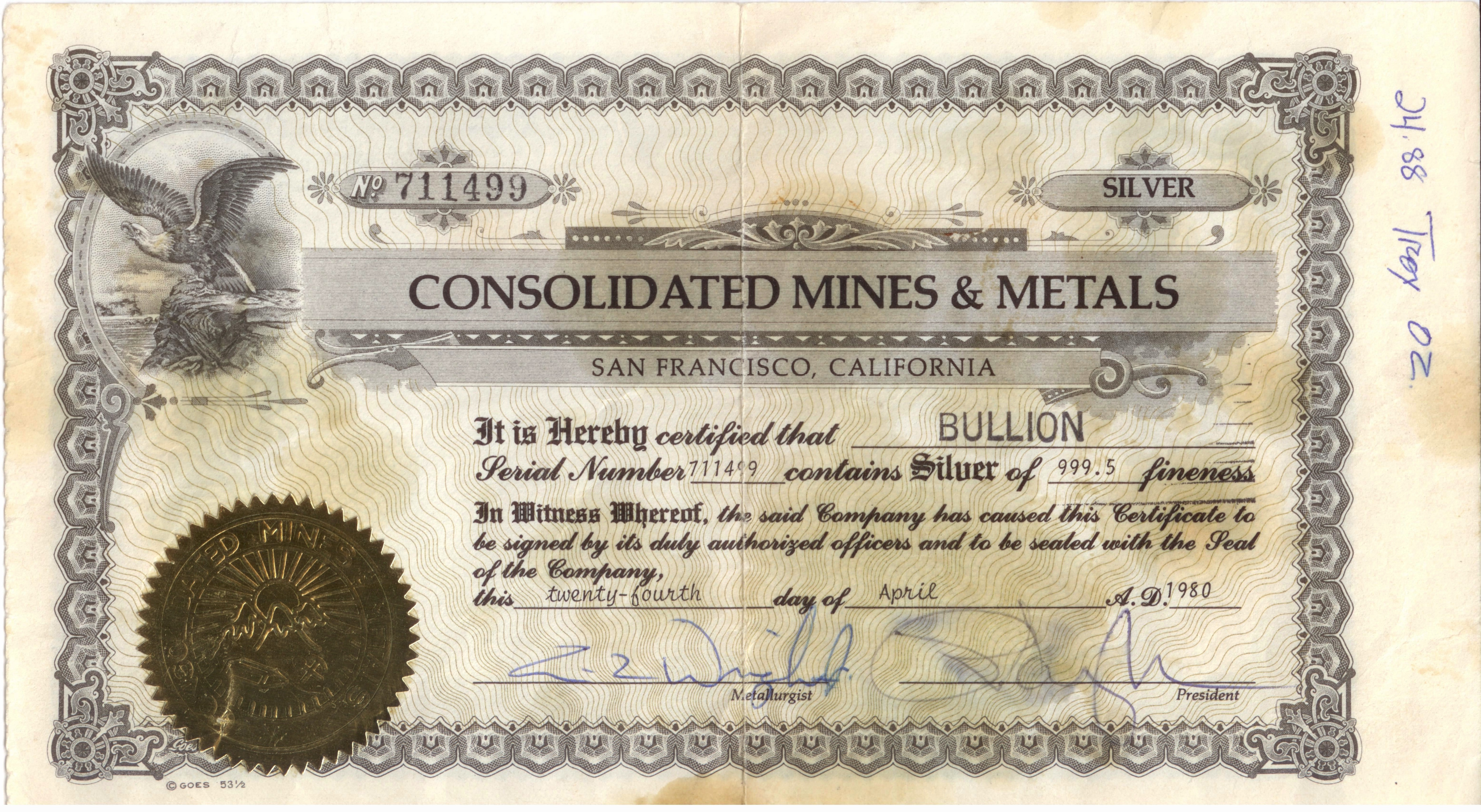 Consolidated Mines Amp Metals