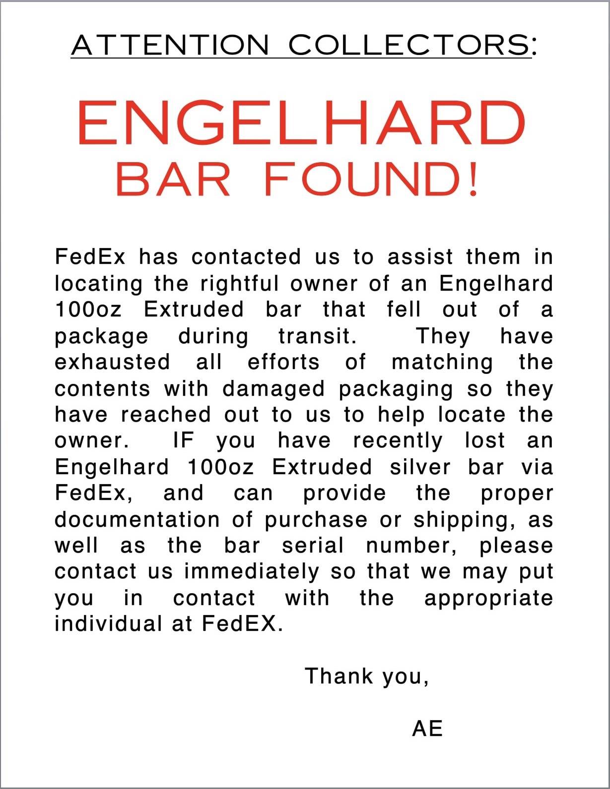 Attention Collectors - Engelhard Bar Found!