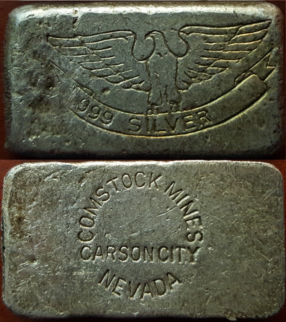 1oz Type 1 Hallmark, Comstock Mines (reverse) copy